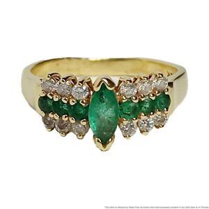 Effy 14k Yellow Gold Natural Emerald & Diamond Designer Signed BH Size 7.25