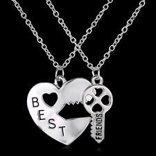 2PCS Letter Best Friend Heart Key Silver Pendant Couple Friendship Necklace gift