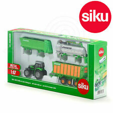 SIKU 1:87 DEUTZ-FAHR Tractor with 3 Trailers DieCast Toy 1848