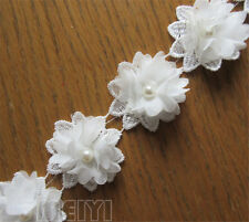 1yd Vintage Pearl Chiffon Flower Edge Lace Trim Ribbon Applique DIY Sewing Craft