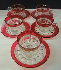 Five EAPG Pattern Glass Adams King's Crown Cup & Saucer