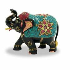 Handmade Wooden Stone Painting Elephant Up Trunk Statue Home Decorative Gift