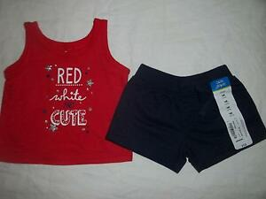 NWT Baby Girl NEWBORN Red White and Cute July 4th Clothes Outfit Set Lot Reborn