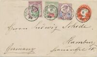 GB 1893 QV 1/2D orangered postal stationery env uprated w Jubilee 1 1/2, 2 + 5D