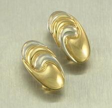 Samuel Aaron 18k Two Tone Gold Swirl Bean Shrimp Oval Omega Clip Pierce Earrings