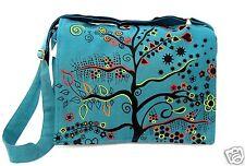 Crossbody Tree of Life Purse Teal Green Shoulder Bag Hippie Cotton Boho New