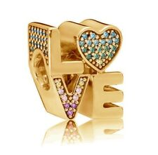 New Genuine PANDORA Rainbow Love Charm 14K Gold Vermeil 797189NRPMX