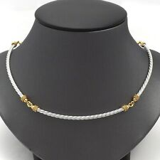 New 14K Two Tone Gold Italy Cable Link Pendant Choker Necklace 17 Inch