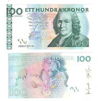 UNC SWEDEN 100 Kronor (2008) P-65c Banknotes Paper Money