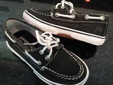 Boys Sperry Halyard black boat/deck shoe Youth Size-  11