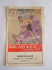 Hull City v Wrexham 1948/1949 - Football Programme