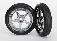 Traxxas 6975 Front Tires & 5-Spoke Chrome Wheels (2): 1/8 Nhra Funny Car