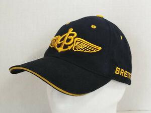 Breitling Pilot's Baseball Hat Cap Embroidered Logo Since 1884 Navy Blue/Gold