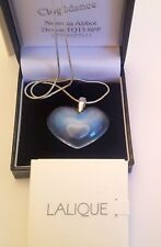 LALIQUE OPALESCENT HEART WITH SILVER CHAIN