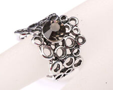 Park Lane Designer Silver Plated Ring made of Circles, with Grey Stone, Size R