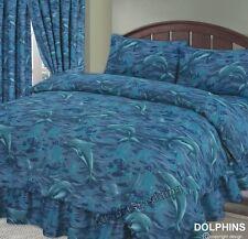 SUPER KING SIZE DELFINI SEA Waves OCEAN Splash Set copripiumino cotone poliestere