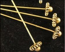 50 Pcs Antiqued gold HANDMADE 3D hat head pin FC894