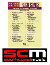 50% OFF CRITICS CHOICE ROCK SONGS PIANO VOCAL GUITAR SONG BOOK! 29 SONGS! NEW!