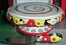 JULIE MAC HONEY BEE & FLOWER CAKE STAND w/ CAKE KNIFE 3-D CERAMIC reduced price