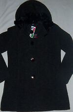New Womens Maria Sole Made In Italy Charcoal Wool Blend Hooded Jacket Size M