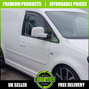 VW CADDY 2004>2015 Tinted Acrylic Front Wind Deflectors Smoke Rain IN CHANNEL