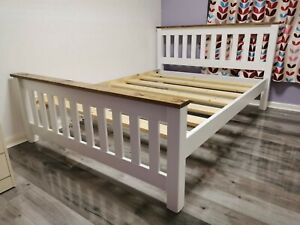 bespoke crown bed white with oak finish trim comes with extra strong bed slats