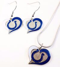 "NFL ""INDIANAPOLIS COLTS"" NECKLACE / EARRINGS TEAM LOGO  FASHION JEWELRY AMINCO"