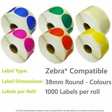 More details for zebra compatible direct thermal labels - 38mm round in 6 colours - 1000 per roll