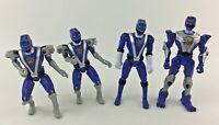 "Bandai Power Rangers 4pc Lot 5"" 6"" Figure RPM Mighty Morphin Blue Ranger Figures"