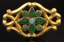 Heavy, Vintage Solid 22K Yellow Gold, Jade & Opal Floral Motif Estate Pin Brooch