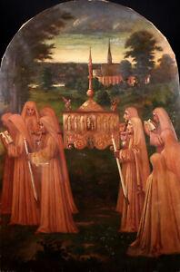 JOSEPH VINDEVOGEL (1859-1941) HUGE SIGNED BELGIAN ARTS CRAFTS OIL CANVAS  1911