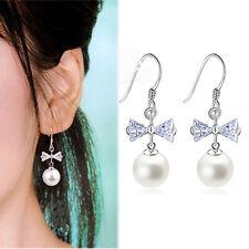 New Women 925 Sterling Silver Plated Crystal Pearl Dangle Rhinestone Earrings