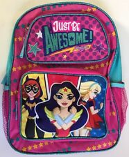"Cargo Backpack 16"" 3D Front Pouch DC Super Hero Girls Trio NEW"