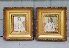 Vintage Wood Frame Victorian Women Ladies picture Pair