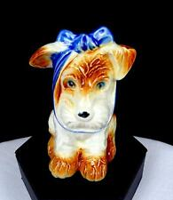 """OCCUPIED JAPAN PORCELAIN MUGSY TOOTHACHE DOG BLUE BOW 3.5"""" FIGURINE 1945-"""