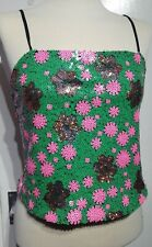 Topshop Green Pink Sequin Flower Crop Top Cami Size 10 UK Party Rave Style