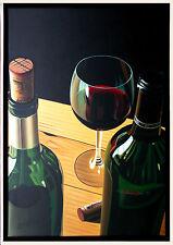 Henri Gautier *1955: Ölmalerei Leinwand 90 x 60 cm Weinflaschen und Rotweinglas