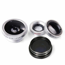 Wide Angle Macro Silver Fish eye Photo Lens Clip Mobile Phone Camera Set Kit UK