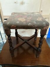 Small Antique Vintage Dark Oak Fabric Seat With Stud Detailing Foot Stool