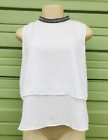 NWT ZARA WOMAN WHITE TOP BEJEWELLED COLLAR FLOWING RUFFLE TRIMS SIZE m 555b