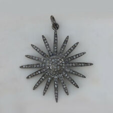 Starburst Pave Diamond Charm Pendant 925 Sterling Silver Christmas Jewelry Gifts