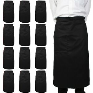 12 Pack of Bistro Aprons, 33x30, 2 Patch Pockets, Poly/Cotton, Adjustable Straps