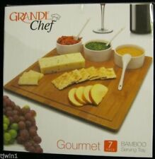 NIB GRANDE CHEF GOURMET 7 PIECE BAMBOO SERVING TRAY BRAND NEW IN THE BOX