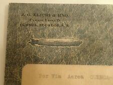 Briefmarken Ecuador Cover Post Flug mit sehr Seltene Zeppelin Umschlag , CUENCA