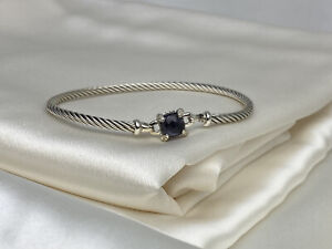 $595 David Yurman Chatelaine 3mm Sterling Silver 925 Amethyst Bracelet Diamonds