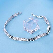 18K Silver Gold Filled Swarovski Crystal Womens Favourite Charm Chain Bracelet