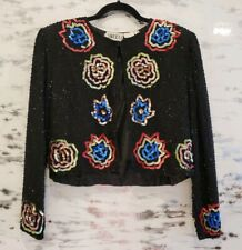 Vintage Boho Black Floral Sequin Crop Jacket Medium