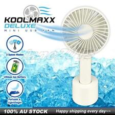 Cool Air Hand Held Stand Koolmaxx Deluxe Mini Portable Fan Rechargeable USB AU