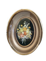"Vintage Convex Bubble Glass Oval Frame With Shells Flower Bouquet 4"" x 3"""
