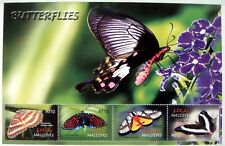 2005 MALDIVES BUTTERFLIES STAMPS SHEET OF 4 BUTTERFLY INSECT MOTH FLOWERS BUG